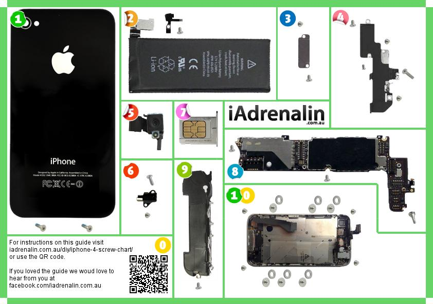 iphone 4 screw chart iadrenalin rh iadrenalin com au iPhone Screw Sheet iphone 4 internal screws diagram